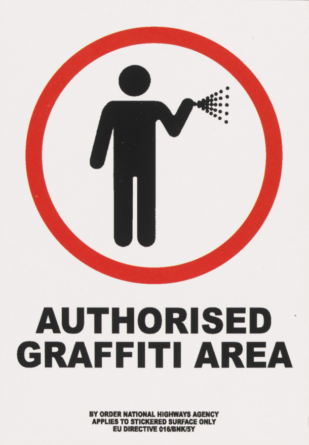 'Authorised Graffiti Area', digital print sticker by Banksy. British, 2004