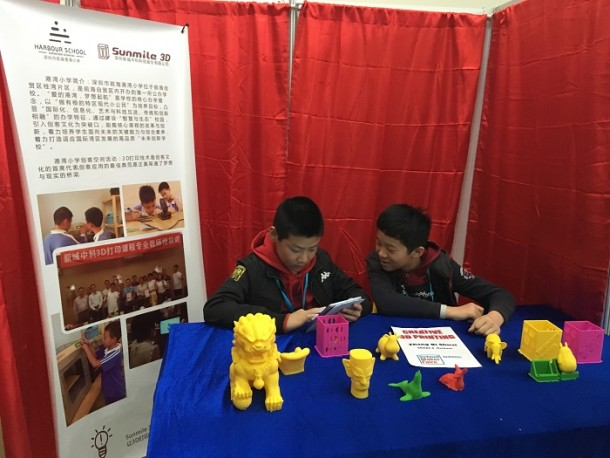 Pupils exhibiting their projects at the School Maker Faire hosted by Shenzhen International American School